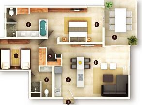 2 Bedroom Suite floor plan
