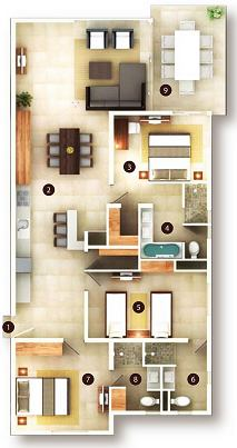 3 Bedroom Suite floor plan