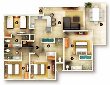 4 Bedroom Suite floor plan